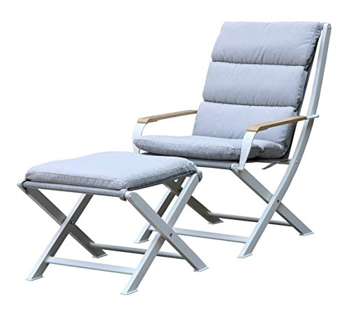 Westfield Outdoors Lounge Chair and Footstool with Padded Cushions Gartenmöbelset, Weiß/Weiß, Large