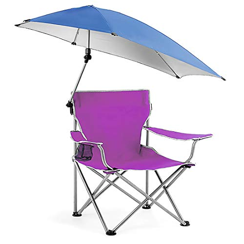 HXMSXROMIDA Best Beach Chairs Folding Lightweight with Canopy with Cup Holders and Carry Bag, for Outdoor Beach Camp Park Patio,Purple