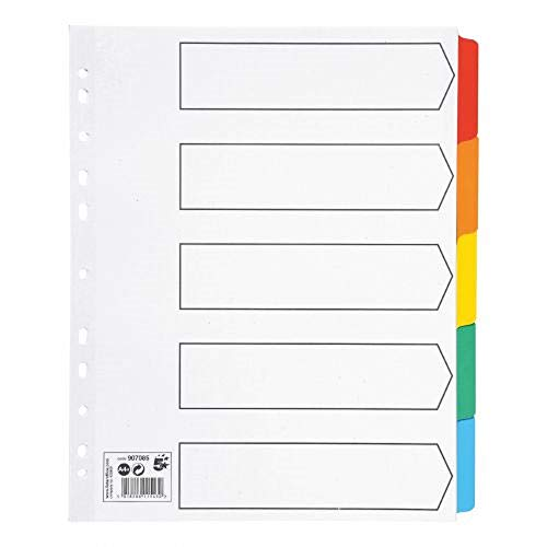 5 Star Maxi Index Extra-wide 230 micron Card with Coloured Mylar Tabs 5-Part A4 White
