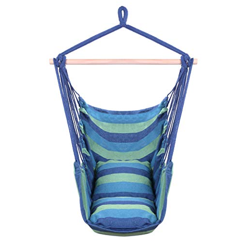 Distinctive Cotton Canvas Hanging Rope Chair with Pillows Blue Swing Chairs for Indoor, Outdoor, Home, Bedroom, Patio, Yard, Deck
