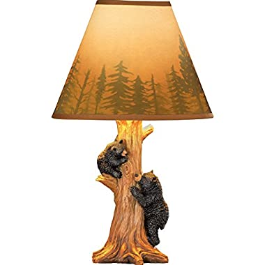 Collections Etc Rustic Climbing Bear Family Northwoods Lamp,14 3/4  H