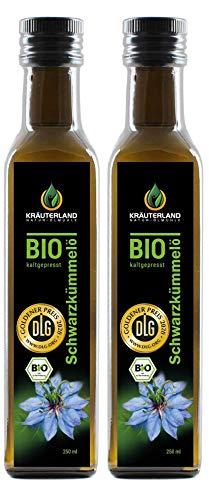 Kräuterland - Bio Schwarzkümmelöl gefiltert 2x250ml- 100{088aac14dee527d421c31f9fc5051f298a61917a2dfd0e7ce944c5fac5a759e1} rein, schonend kaltgepresst, ägyptisch, vegan - Frischegarantie: täglich mühlenfrisch direkt vom Hersteller