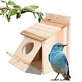 mocoli nido per pettirosso in legno - casetta per uccelli nido per uccelli, resistente alle intemperie, legno, non trattato, casetta per uccelli all'aperto