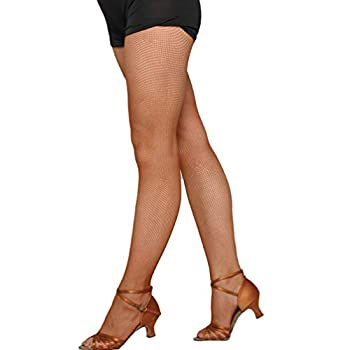 FENICAL Top High Waisted Professional Fishnet Pantyhose for Latin Dance for Women Girls Ladies Caramel Colour