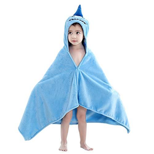 MICHLEY kinder/baby badhanddoeken, koraalvlies handdoeken dier capuchon handdoeken poncho 60x120 cm blauw haai