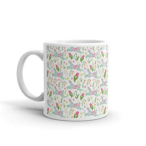 Dozili Grappige Koffiemok - Pasen Naadloos Patroon Konijnen in Bloemen Konijn Keramische Koffiemok Beker, 11 Oz, Wit