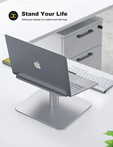Laptop Notebook Stand, Lamicall Laptop Riser: [360-Rotating] Desktop Holder Compatible with Apple MacBook, Air, Pro, Dell XPS, HP, Samsung, Lenovo More 10-17 Inch Laptop Notebooks - Silver