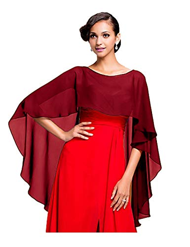 CoCogirls Stola in chiffon per abiti in diversi colori, adatta a qualsiasi abito da sposa, da sera, da matrimonio, da gala o ricevimento azzurro Taglia unica (Burgudy)