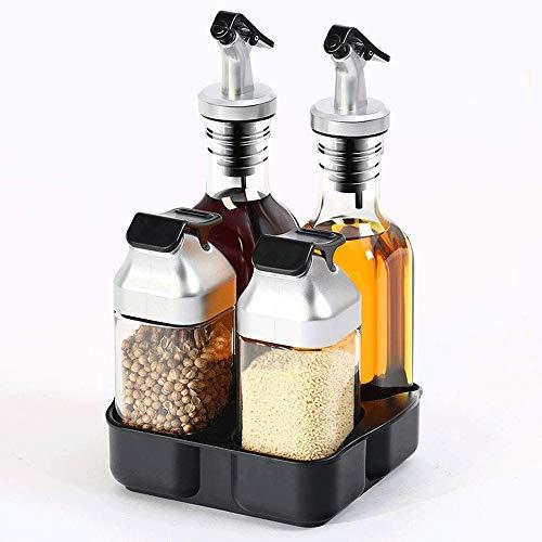 Botes para Especias novedosos Prima Sal Y Pimienta vinagrera conjunto de 4 - Sal y Pimienta Grinder Set |Aceite y Vinagre dispensador Set |Aceite de oliva, salsa, condimento |Inicio Utensilios de coci