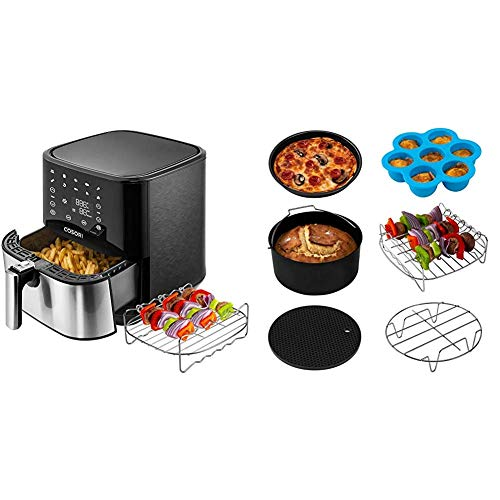 COSORI Stainless Steel Air Fryer (100 Recipes, Rack & 5 Skewers), 5.8Qt Large Air Fryers XL Oven Oilless Cooker & Air Fryer Accessories XL, Set of 6 Fit all 5.8Qt, 6Qt Air Fryer, FDA Compliant