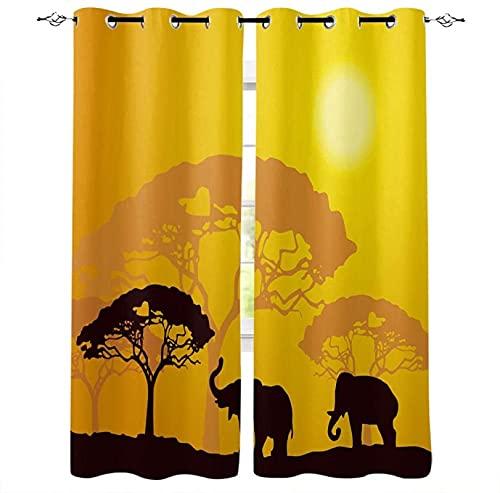 LUOWAN Cortina Opaca Microfibra Infantil - 280x200 cm - Puesta de sol desierto paisaje elefante - 95% Opaca Cortina aislantes de frío y Calor Decorativa con Ojales Estilo para Salón Habitación y Dormi