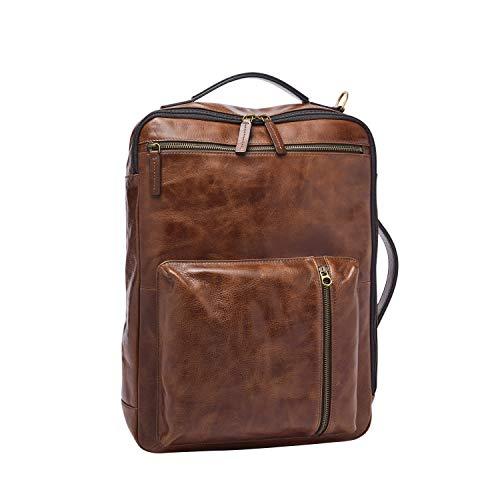 Fossil Men's Buckner Leather Medium Convertible Travel Backpack and Briefcase Messenger Bag, Cognac