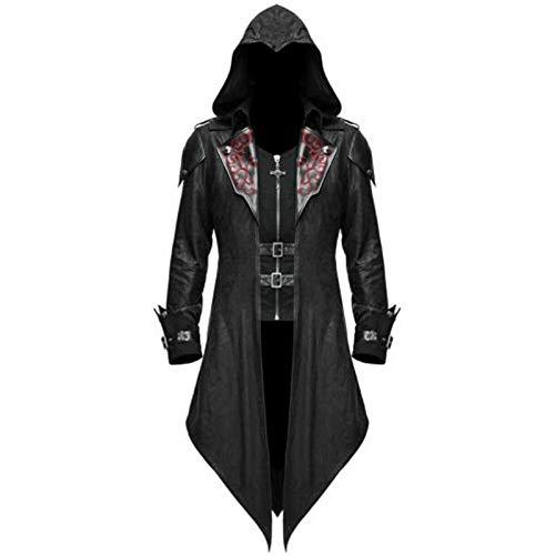 YEBIRAL Herren Vintage Gothic Steampunk Jacke Viktorianischen Langer Mantel Karneval Party Cosplay Kostüm Smoking Jacke mit Kapuze Uniform
