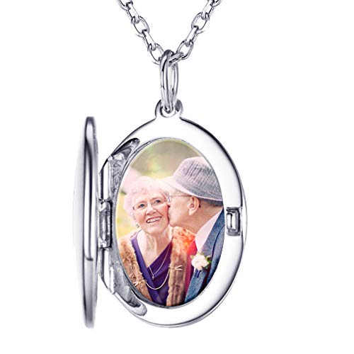 Custom4U Personalised Necklace for Women 925 Sterling Silver Locket Photo Pendant with 18+2 Inch Chain,Custom Engraved Personalised Necklace Mum Gifts