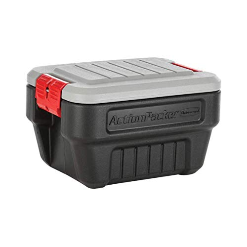 Rubbermaid 8 Gallon Action Packer Lockable Latch Indoor and Outdoor Storage Box Container, Black (2 Pack)