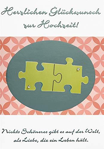 Hochzeitskarte Lifestyle - Puzzle, Kristallsticker - 11,6 x 16,6 cm
