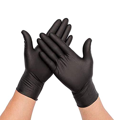 Guantes Desechables de Nitrilo Sin polvo, Stock Disponible, Envío Rápido, Caja de 100 guantes. Color Negro talla S