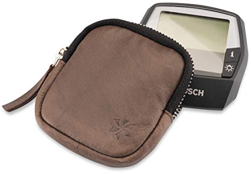 honju Bike Premium-Antik Echtledertasche für Bosch Intuvia E-Bike / Pedelec (Displayschutz, edles Design, Innentasche, Schutz vor Kratzer & Schmutz) - braun