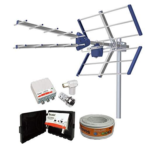 Kit Amplificado Antena TV Compact 5G + Rollo 20M TELEVES + Amplificador 30dB + Fuente alimentación + Conectores F Y TV.