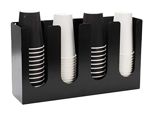 Mind Reader Coffee Holder, Multi-Section Organizer for Stacked Hot or Cold Disposable Cups, Lids, Condiments, Stainless Steel, 4 Compartments, Black