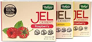 Bakol Jel Dessert All Natural - Non-GMO - Vegan - No Artificial Flavors or Colors - Preservative-Free - Easy To Make, No-Bake - Set Of All 6 Flavors Strawberry-Cherry-Lemon-Orange-Raspberry-Unflavored