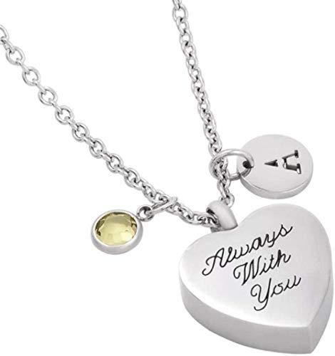 NC110 Collar Corazón Urna Urna Urna Joyas para Mascota/Cenizas Humanas Cremación Urna Alfabeto Colgante