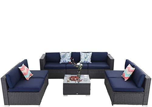 8 Piece Outdoor Sectional Furniture Rattan Conversation Sofa Patio Rattan Sofa Set with Wicker,Blue