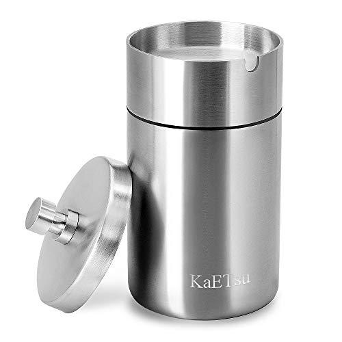 KaETsu 灰皿 ふた付き 大容量 ステンレス 車用 屋外 タバコ (大サイズ)
