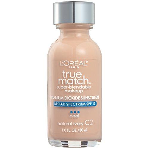 L'Oreal Paris Makeup True Match Super-Blendable Liquid Foundation, Natural Ivory C2, 1 Fl Oz (1 Count)
