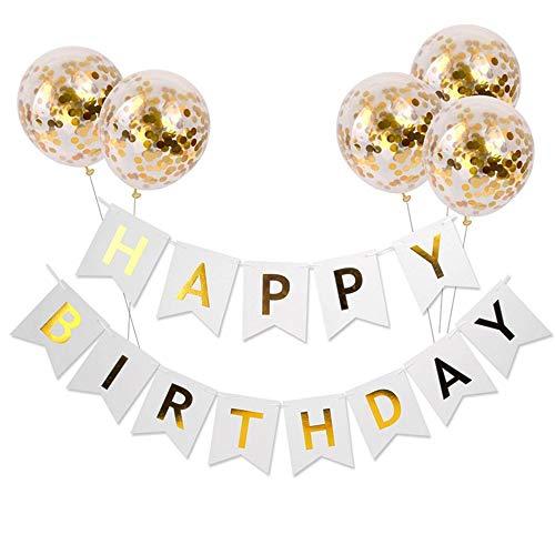 Meowoo Anniversaire Bannière, Banniere Joyeux Anniversaire et 5 pcs Ballons de Confettis , Banner Happy Birthday Ballon Helium Décoration de Fête Anniversaire(Bannière Blanc)