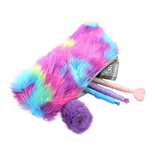 Haifly - Estuche para lápices, diseño de arcoíris con pom