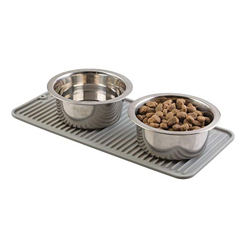 mDesign Premium Quality Pet Food and Water Bowl Feeding Mat for Dogs and Puppies - Waterproof...