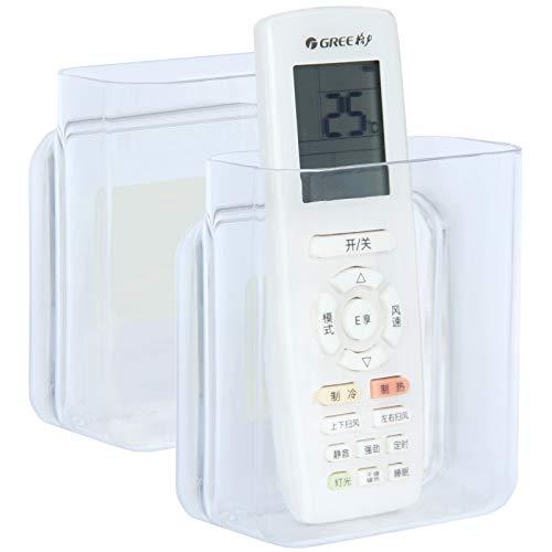 Pinowu Soporte de Pared para Mando a Distancia 10x12x5,5cm (2 Unidades) – Caja organizadora de Almacenamiento de Mesa autoadhesiva para Aire Acondicionado, Caja de TV, Mando (Transparente)