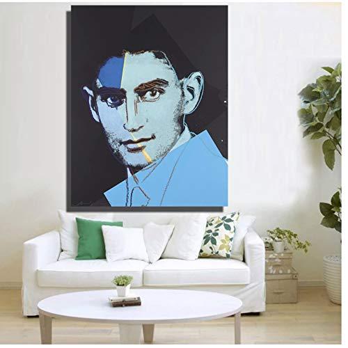 FACAIA Andy Warhol Franz Kafka de Dez Retratos de Judeus Pintura a Óleo em Tela Pintura de Parede Pôster de Imagem Decoração de Casa - 50 x 70 cm Sem Moldura
