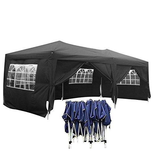 Faltpavillon 3x6 Festzelt Schwarz Gartenpavilion 270g/ m² polyester mit PVC-Beschichtung