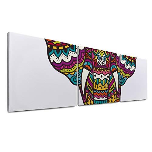 YATELI para Sala de Estar Decoración de Oficina en el hogar 3 Paneles Decoración de Pared Arco Iris Abstracto Tatuaje Colorido Elefante Giclée Listo para Colgar Impresiones de Lienzo Zorro