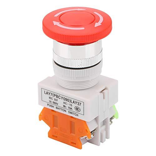 Botón de parada de emergencia con autobloqueo de cabeza tipo hongo, LAY37-11ZS, letrero rojo de plástico, interruptor de botón tipo hongo, 22 mm, para emergencias en el hogar