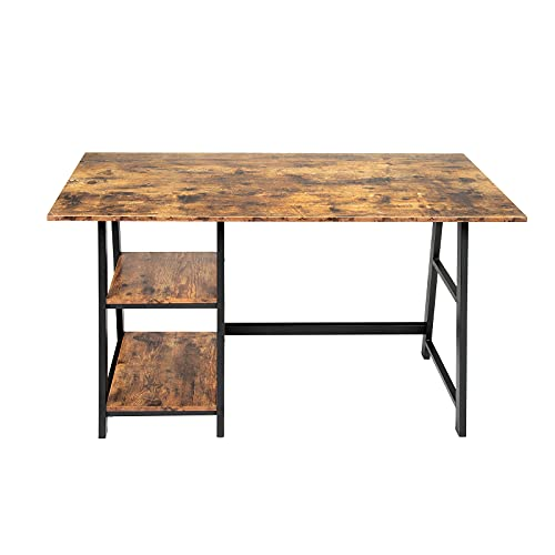 Oak & Tea Computer Desk for Small Space, Home Office Writing Desks & Workstation with Shelves, Work Study Table for Bedrooms 120x60x75 cm