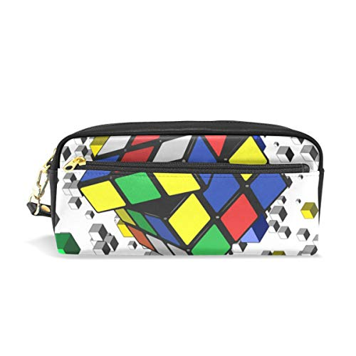 Cute School Pencil Case Material de oficina Maquillaje Cosmético Bolsa Monedero Monedero Colorido Cubo de Rubik