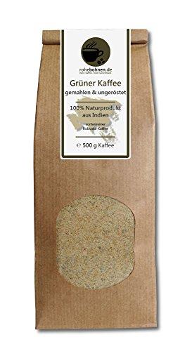Grüner Kaffee gemahlen - Indien Robusta (Rohkaffee gemahlen 500g)