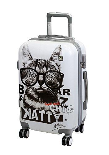 A2s Equipaje cabina maleta ligera y duradera maleta de cáscara dura con 8 ruedas giratorias llevar bolso (aviones) Gato con gafas de sol 55x35x20cm