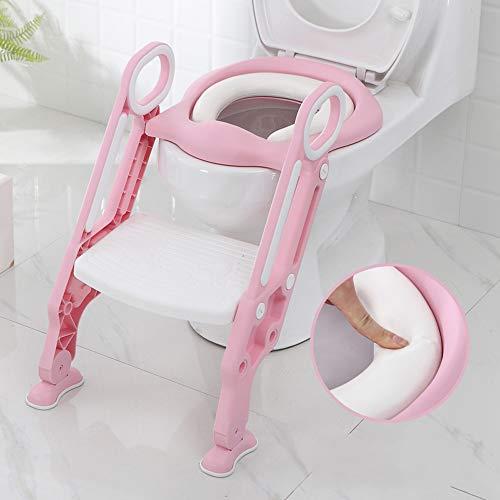 Sinbide Escalera Asiento Escalera del Tocador de Niños, Reductor WC para Niños Acolchado Suave con Escalón Plegable Abatible Ajustable, Antideslizante (Rosa-Blanco)