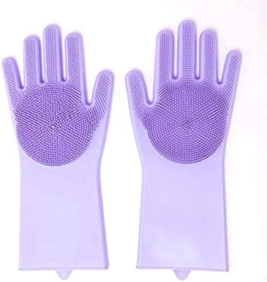 Max Home Magic Silicone Dish Washing Hand Gloves for Cleaning, Kitchen, Car, Bathroom and Pet Grooming (Color as per availability) - 1 Pair