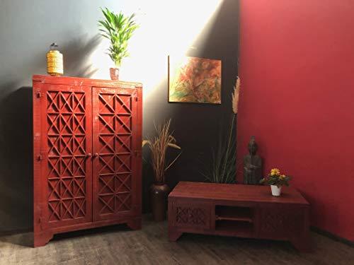OPIUM OUTLET Juego de muebles de salón con cómoda para la televisión, mesa baja de madera de pino maciza, color rojo