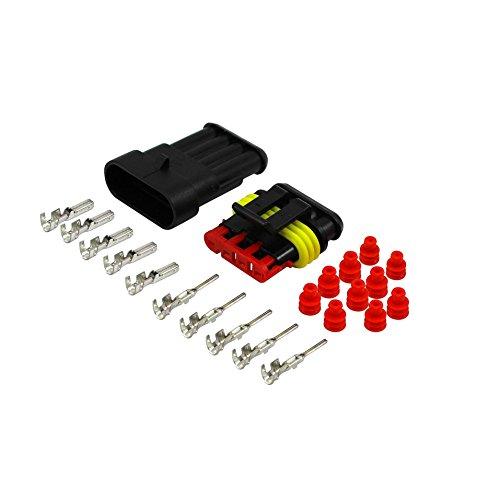 AK-Parts AMP Superseal Kfz Nfz Stecker Set 4 Polig 1,50-2,50 mm² Rot Wasserdicht