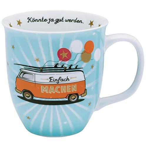 Die Geschenkewelt Happy Life 46419 bus, porselein, 40 cl, blauw, oranje mok