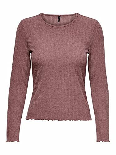 Only Onlnella L/S O-Neck Rib Top Noos Jrs Camiseta, marrón, XL para Mujer