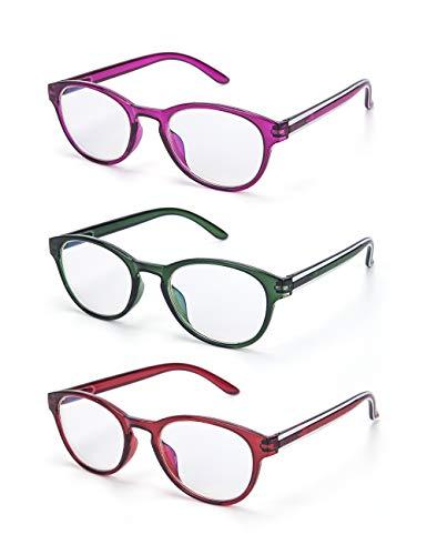LANLANG 3er-Pack Blaulichtfilter Brille Lesebrille 2,0 für Damen Anti Eyestrain Anti UV 3 Farben mit rundem Rahmen einschließlich 0-3,5 Dioptrien L-L009-3COL