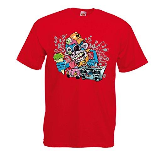 Maglietta da Uomo The Funky Monkey DJ - Anni '80, 90, Musica retrò, Lettore Cassette, Moda di Strada (Medium Rosso Multicolore)