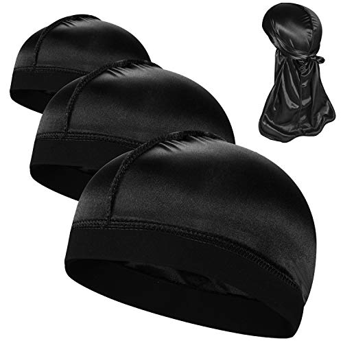 3PCS Silky Stocking Wave Caps, Compression Cap for Men Doo Rag, Award...